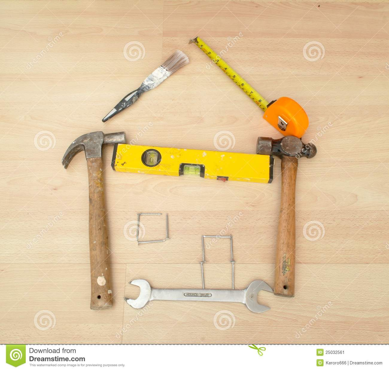 Outline of a house made from household tools stock image image 25032561 - Household tools ...