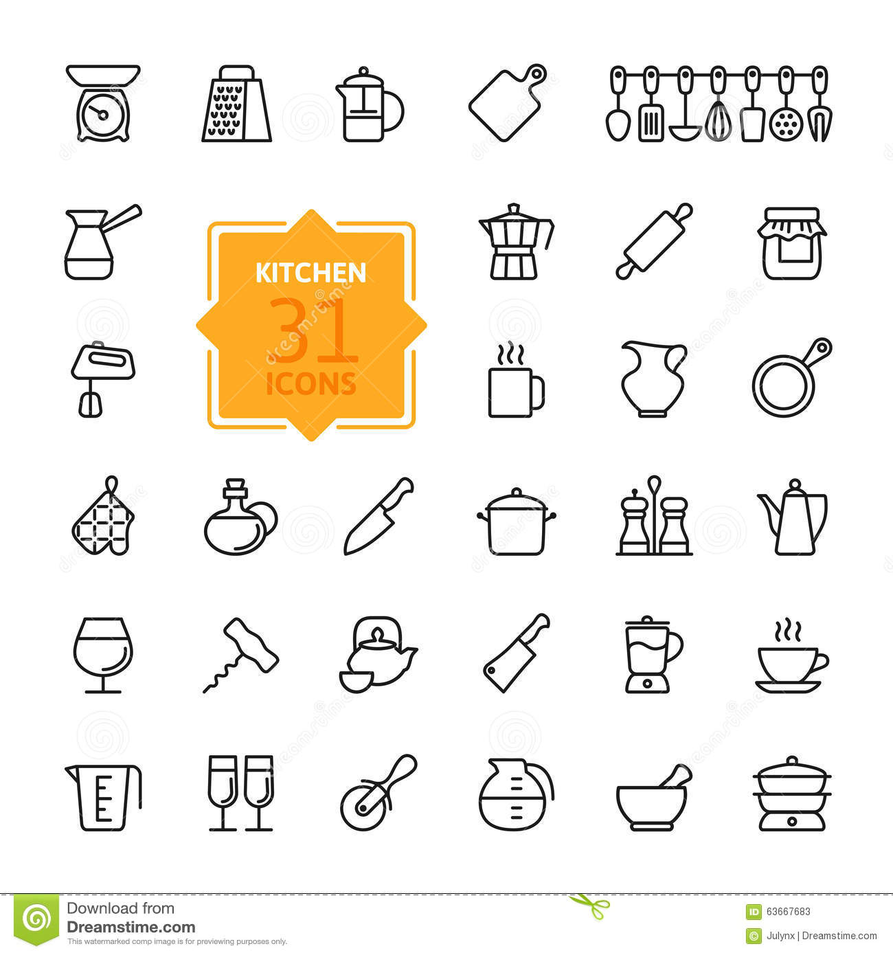 Outline Icon Collection Cooking Tools And Utensils Stock Vector Image 63667683