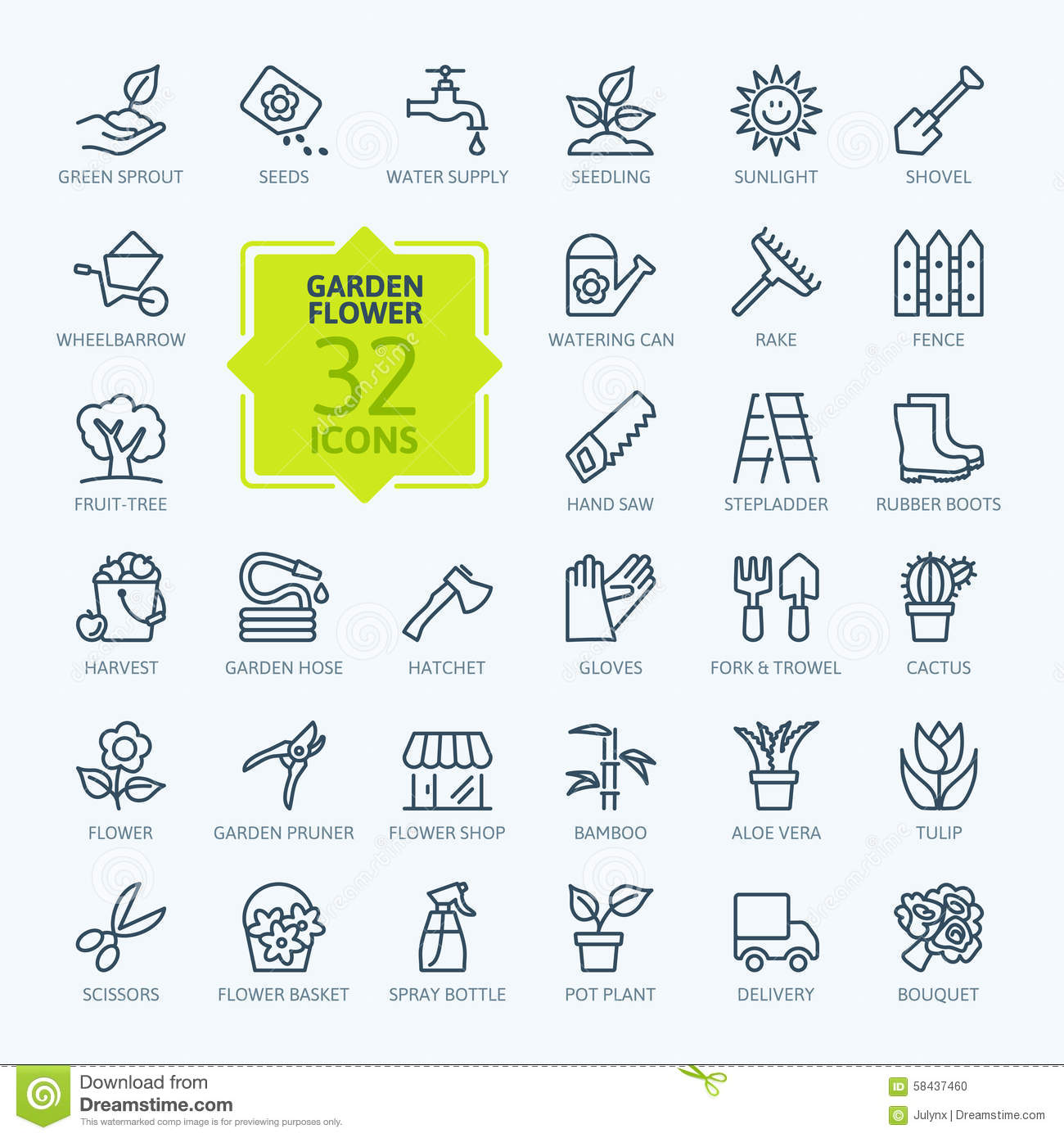 Outline icon set - Flower and Gardening