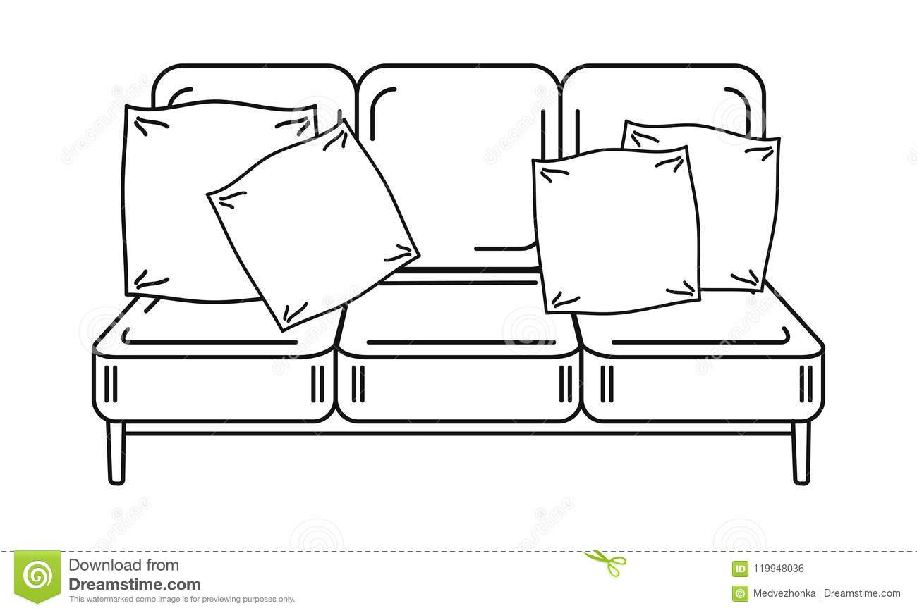 Outline Image Of Sofa With Pillows Stock Vector Illustration Of