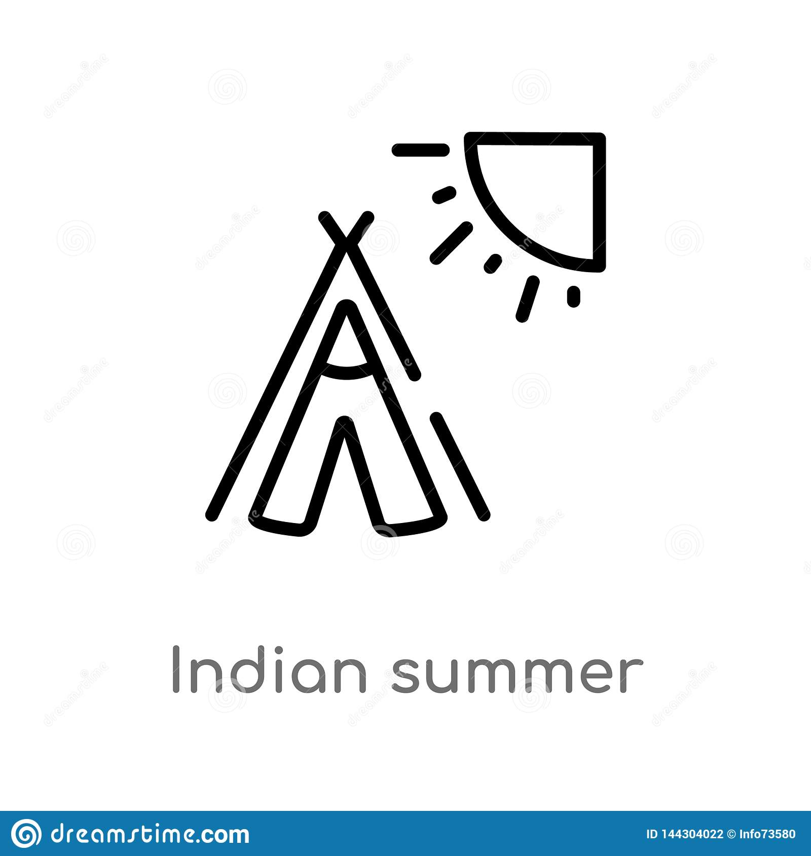 outline indian summer vector icon. isolated black simple line element illustration from weather concept. editable vector stroke