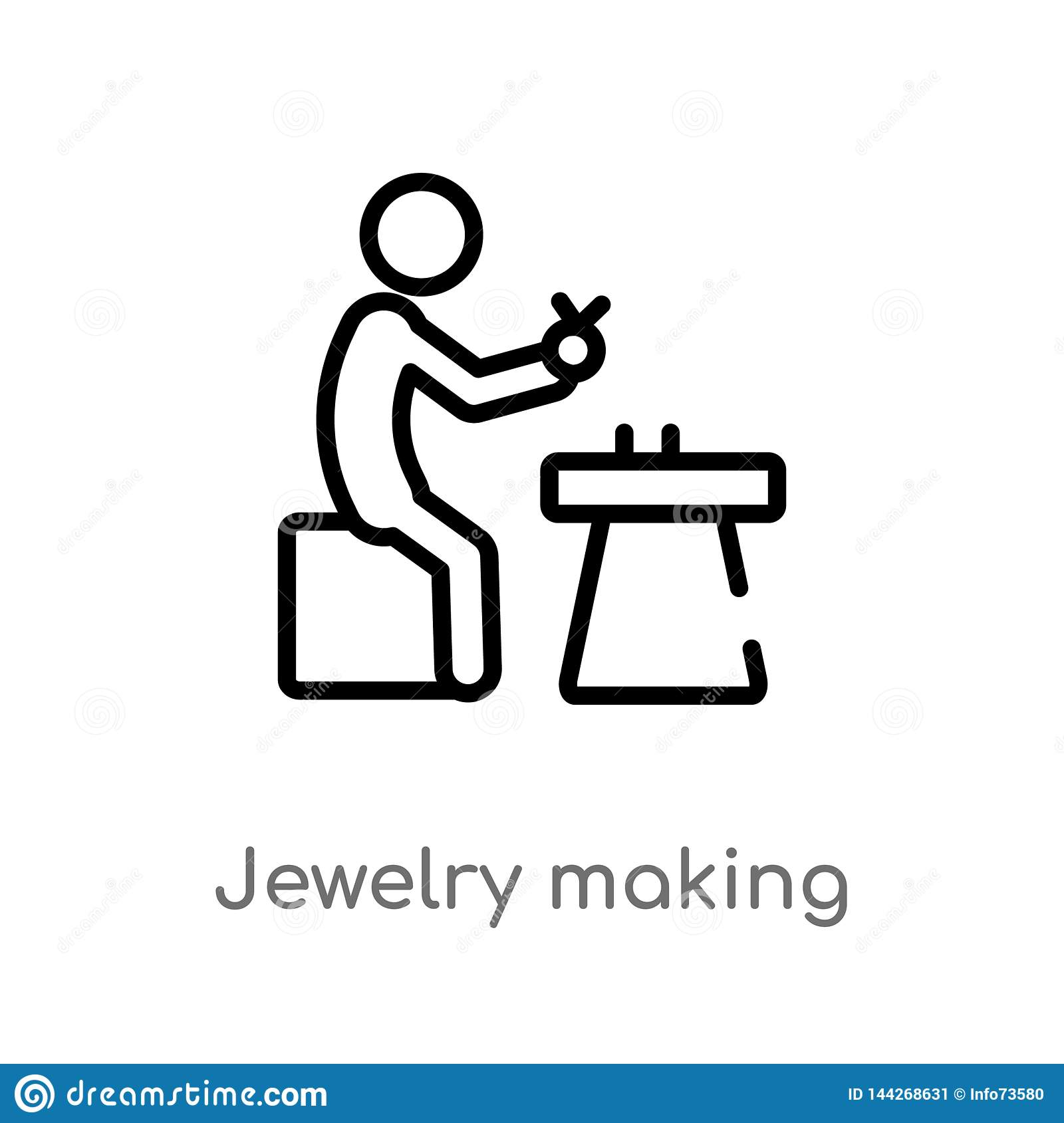 outline jewelry making vector icon. isolated black simple line element illustration from activity and hobbies concept. editable