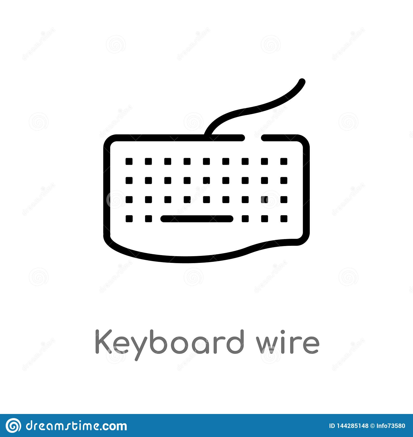 outline keyboard wire vector icon. isolated black simple line element illustration from hardware concept. editable vector stroke