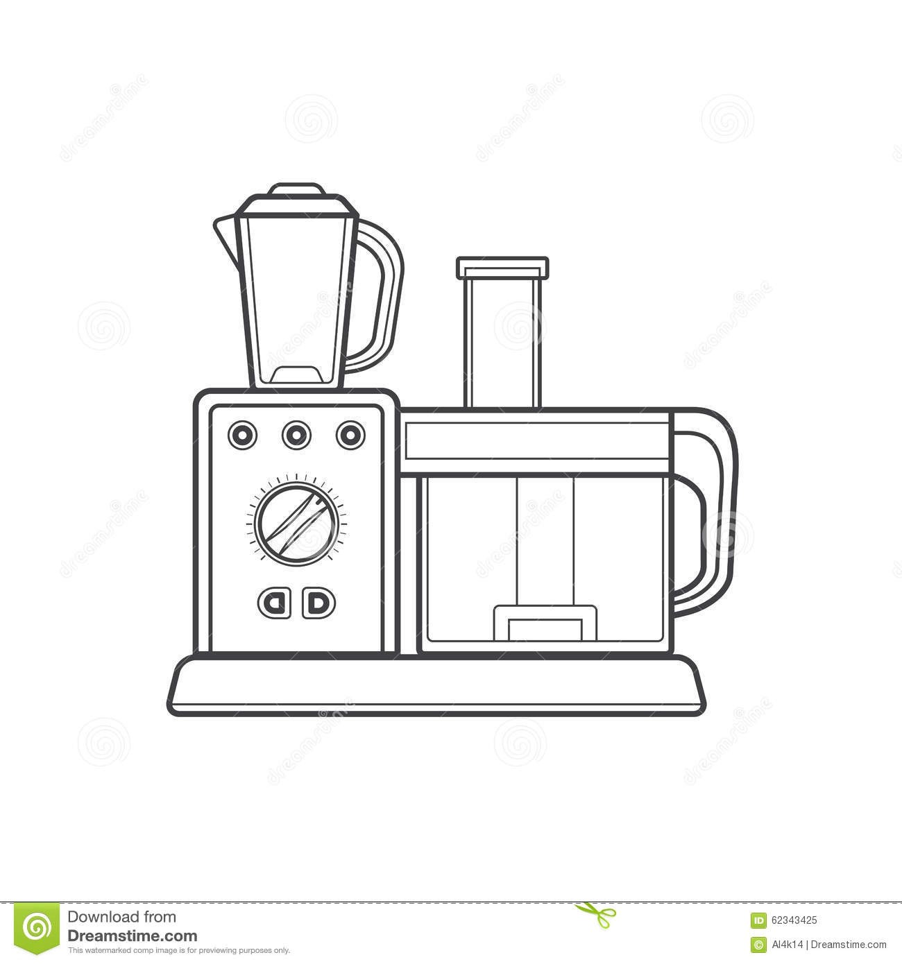 Outline Kitchen Food Processor Illustration Stock Photo ...