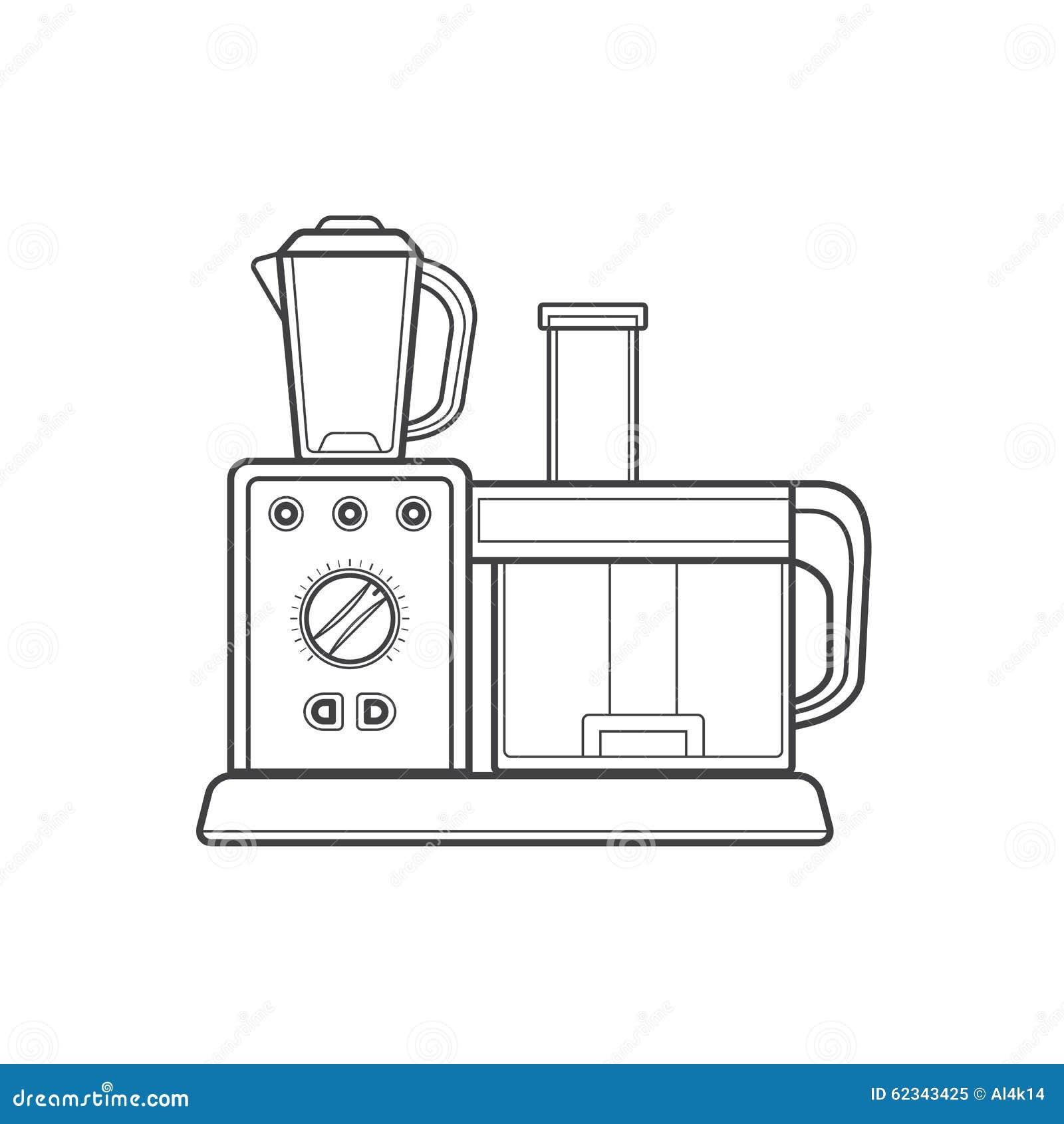 Electric Mixer Outline ~ Outline kitchen food processor illustration stock photo