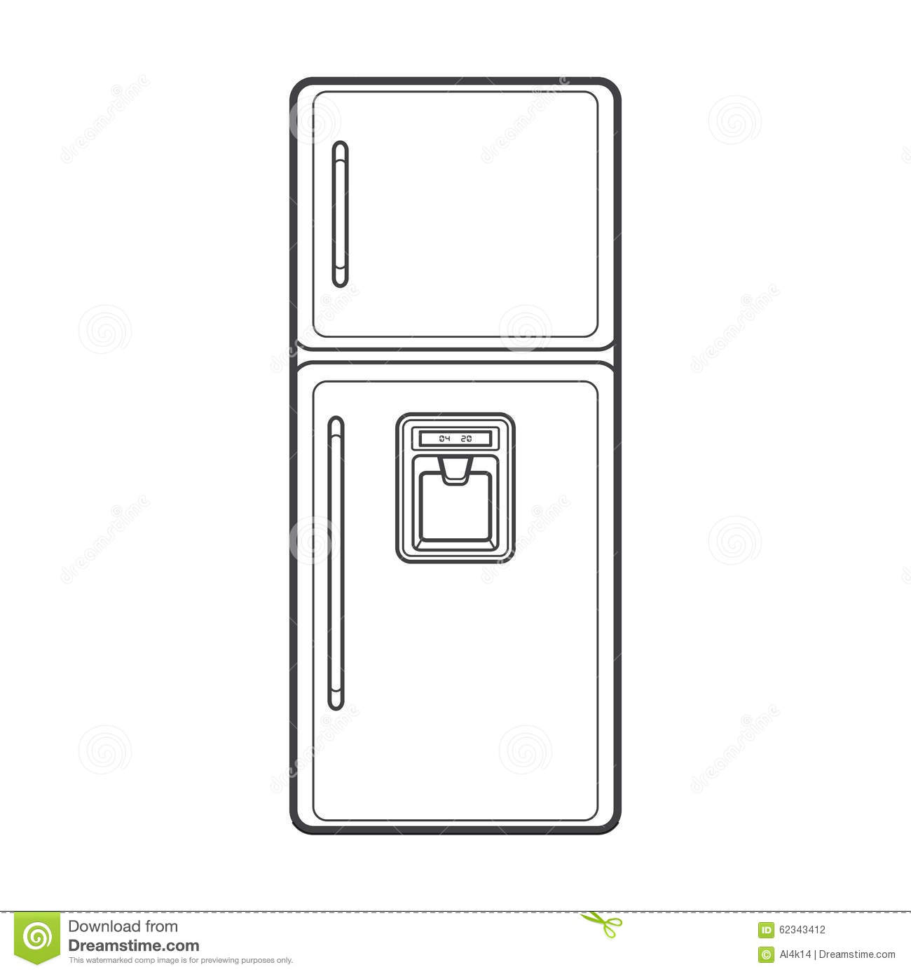 Outline Kitchen Refrigerator Illustration Stock Vector ...