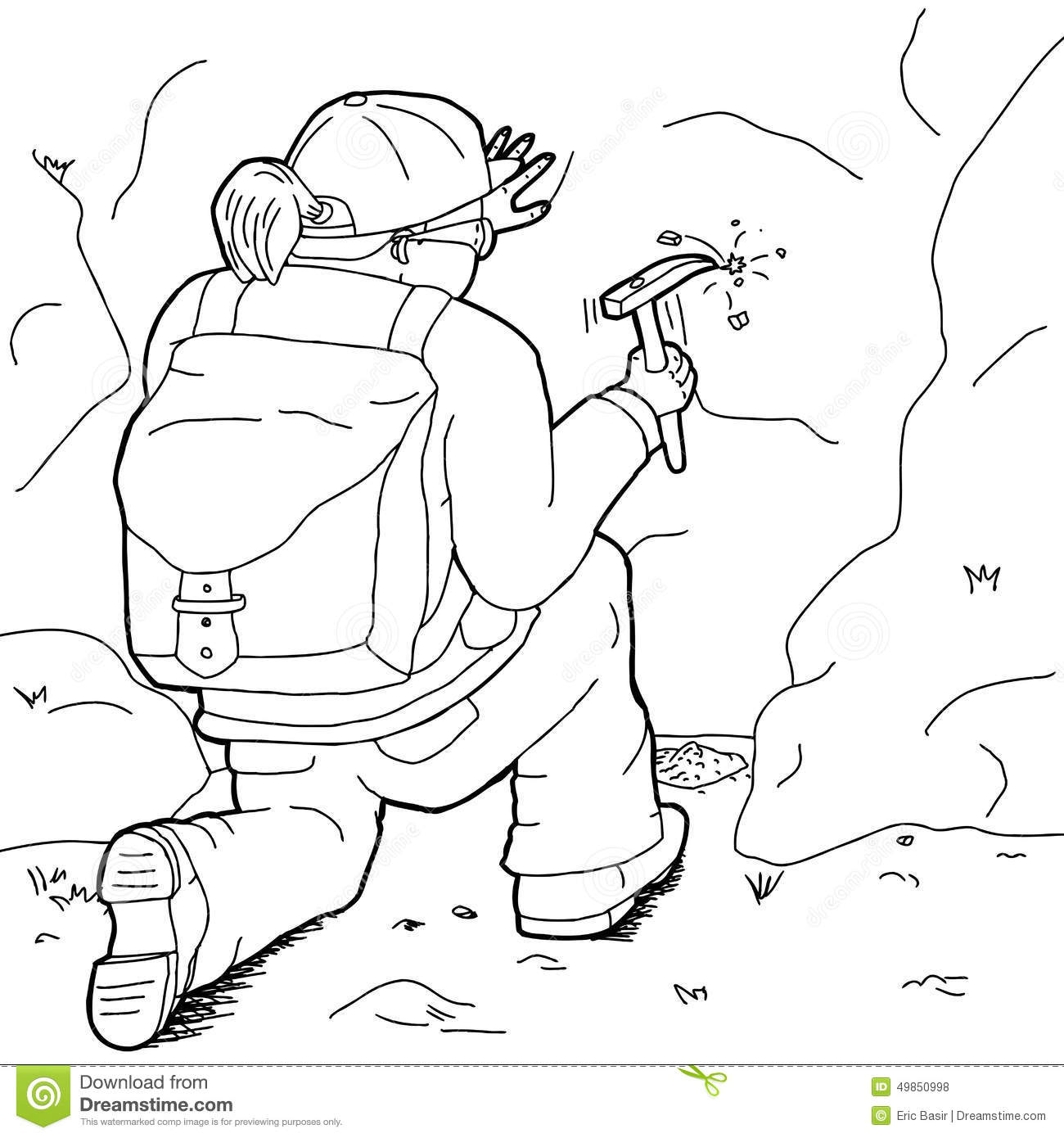 Outline Of Lady Geologist Stock Illustration Illustration Of Hand