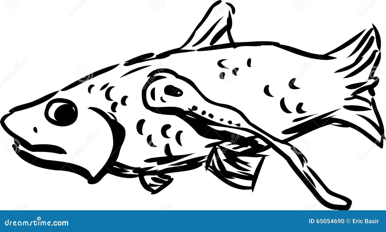Outline Of Lamprey Eating A Fish Stock Illustration Illustration