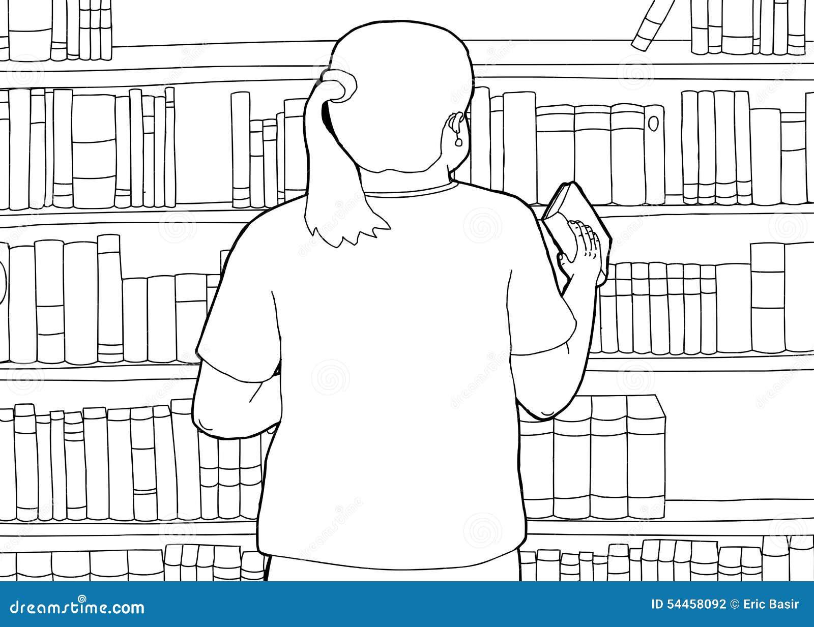 Outline Of Librarian Shelving Book Stock Illustration - Image: 54458092