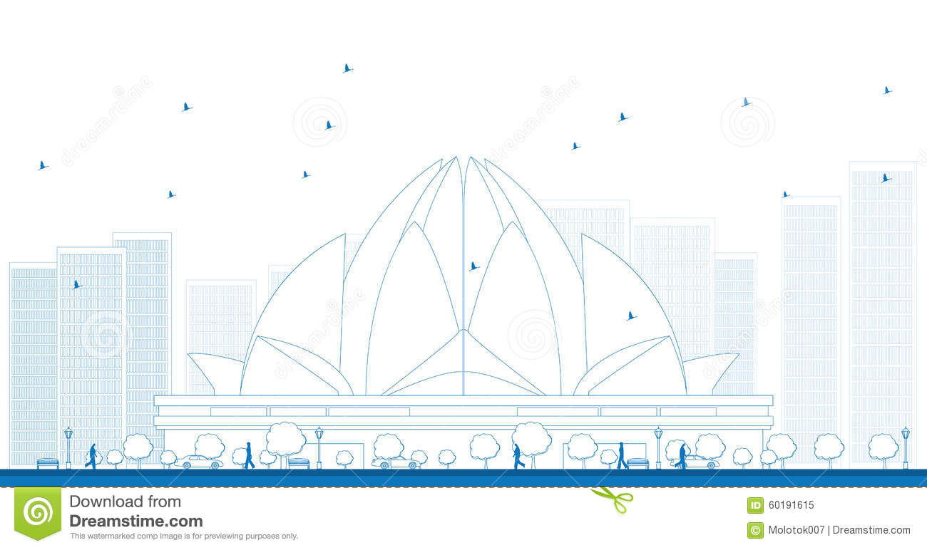 Outline The Lotus Temple, Located In New Delhi, India ...