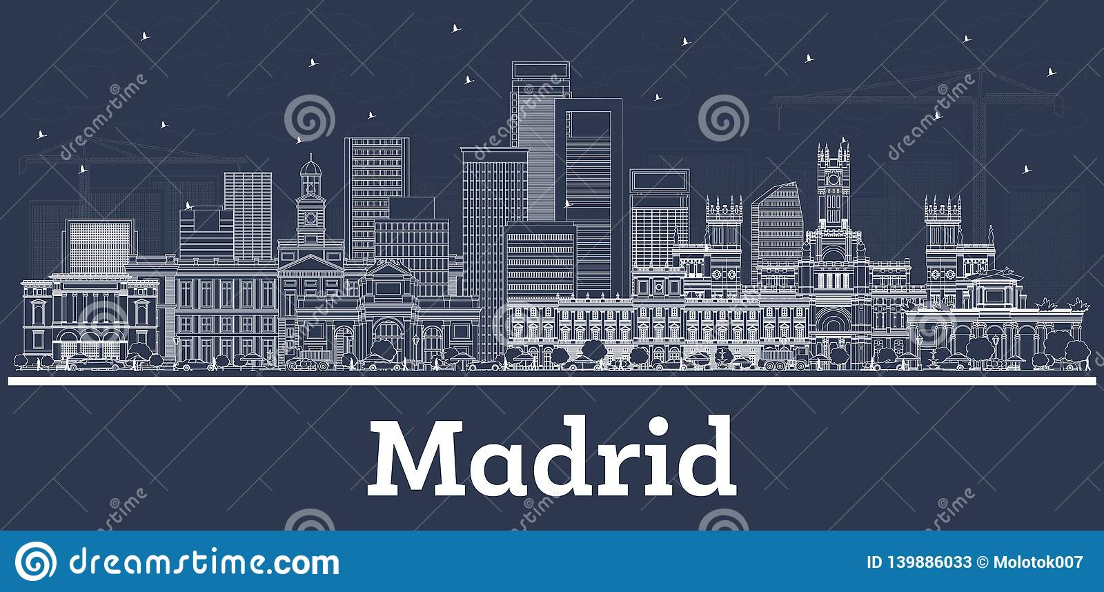 Outline Madrid Spain City Skyline with White Buildings