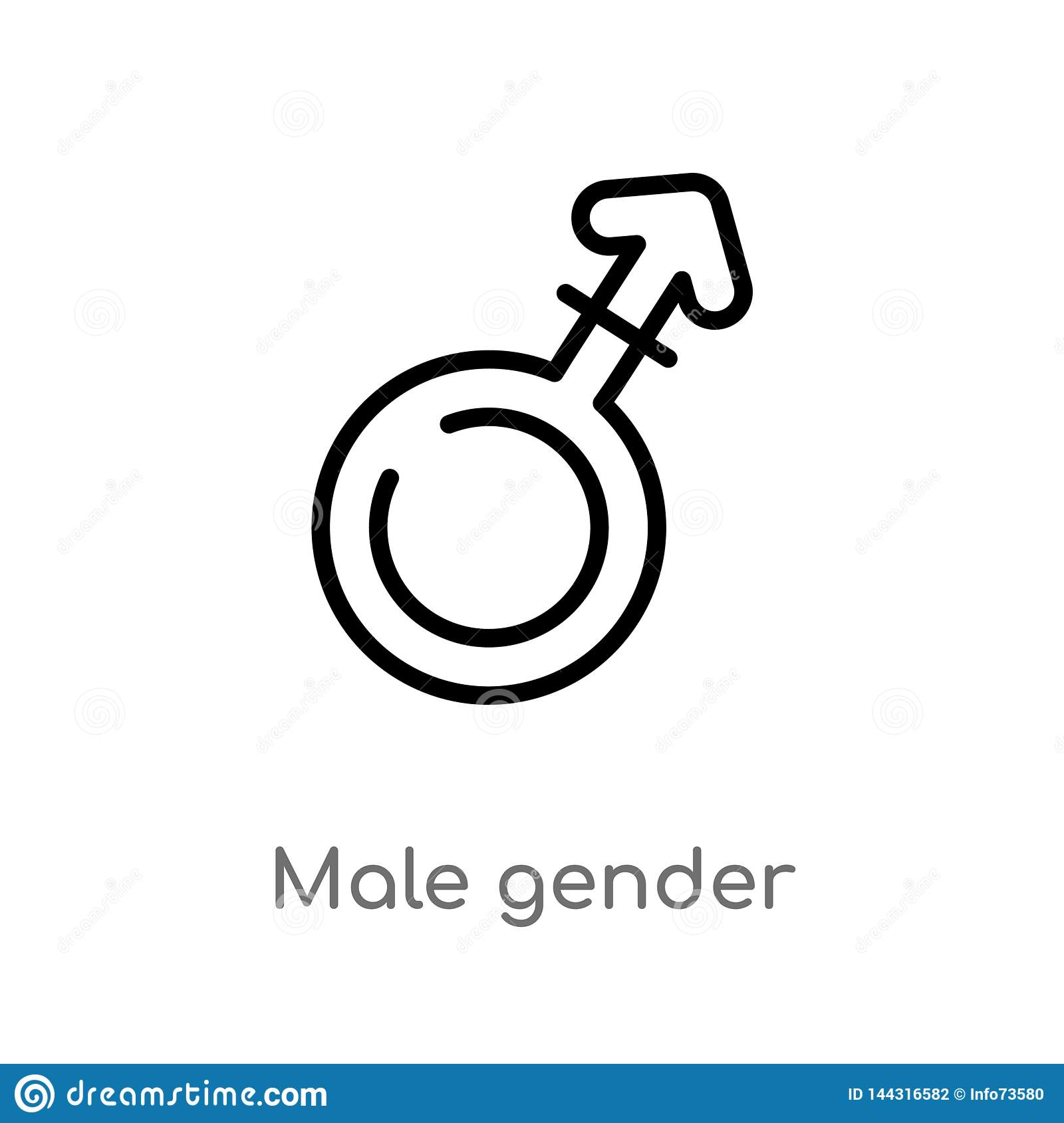 outline male gender vector icon. isolated black simple line element illustration from signs concept. editable vector stroke male