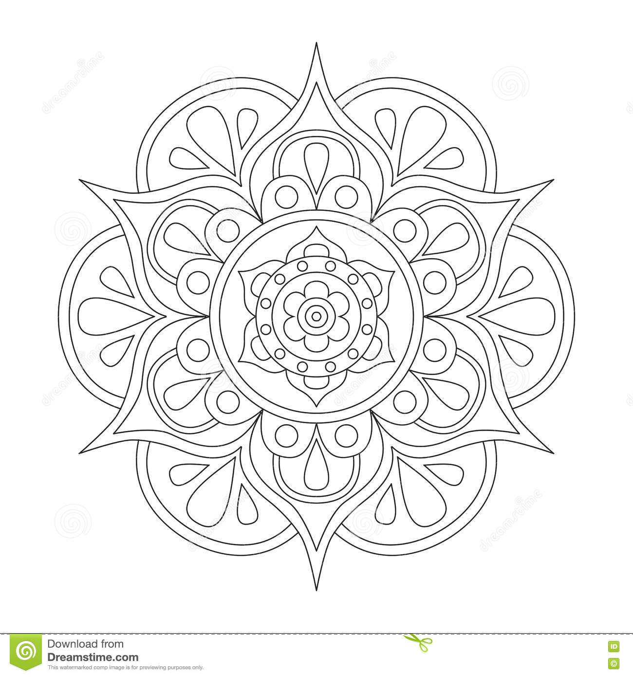 Outline Mandala For Coloring Book Anti Stress Therapy