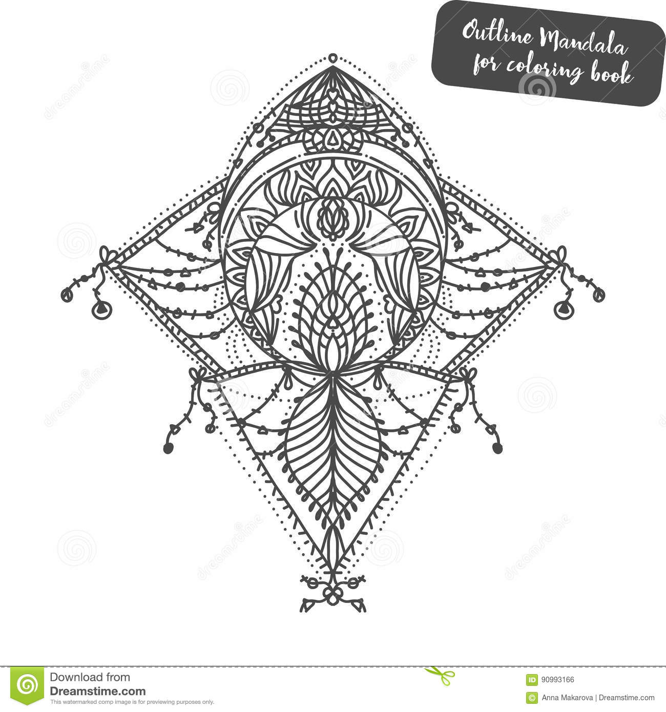 Royalty Free Illustration Download Outline Mandala For Coloring Book