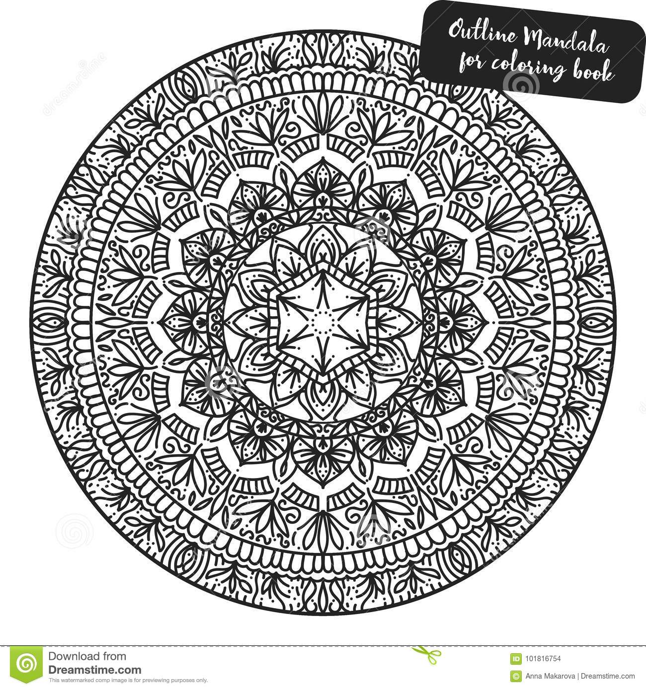 Download Outline Mandala For Coloring Book Decorative Round Ornament Anti Stress Therapy Pattern