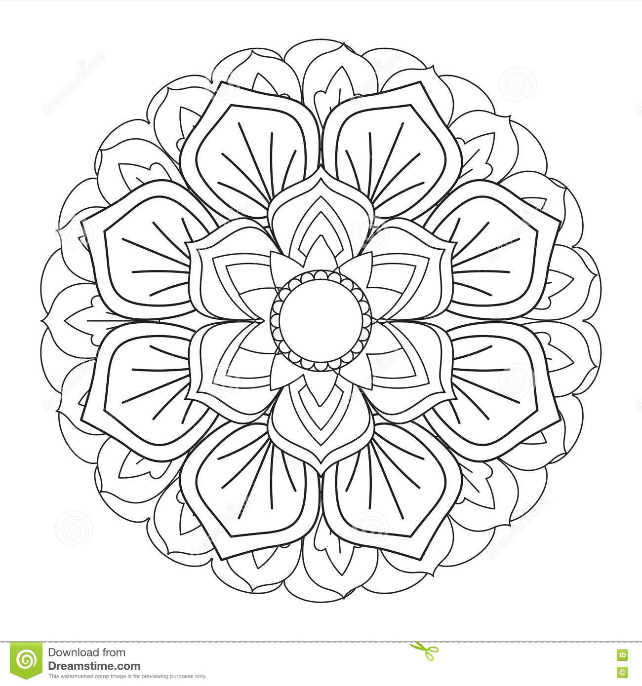 Outline Mandala For Coloring Book Decorative Round Ornament Stock