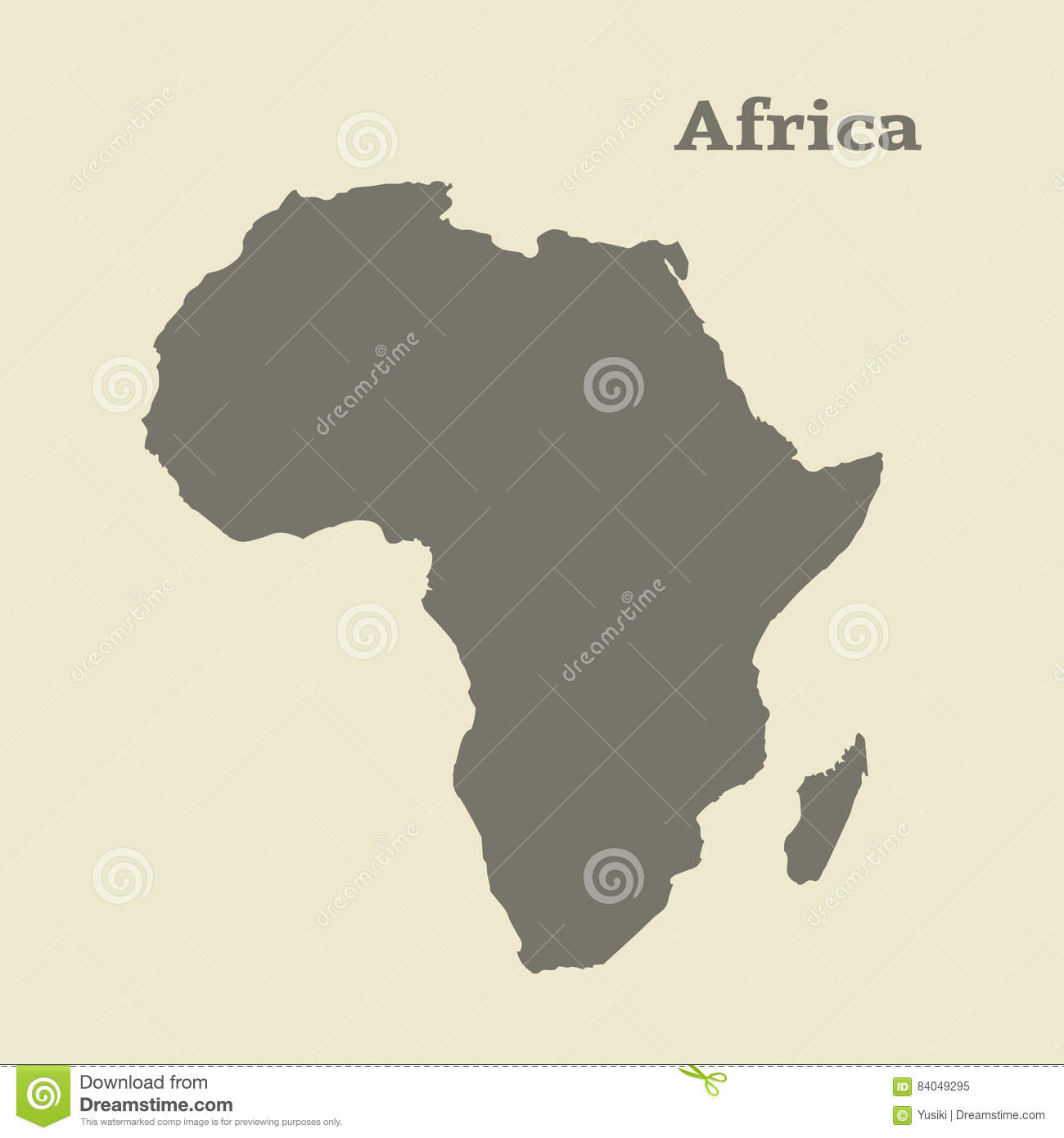 Outline Map Of Africa. Isolated Illustration. Stock Illustration ...