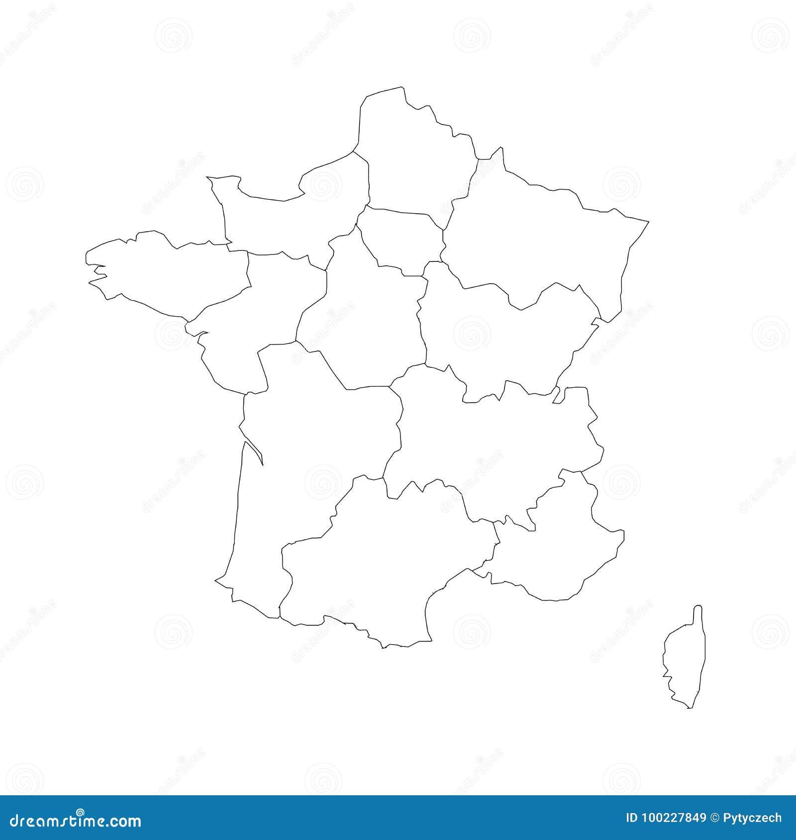 Outline Of Map Of France.Outline Map Of France Divided Into 13 Administrative Metropolitan