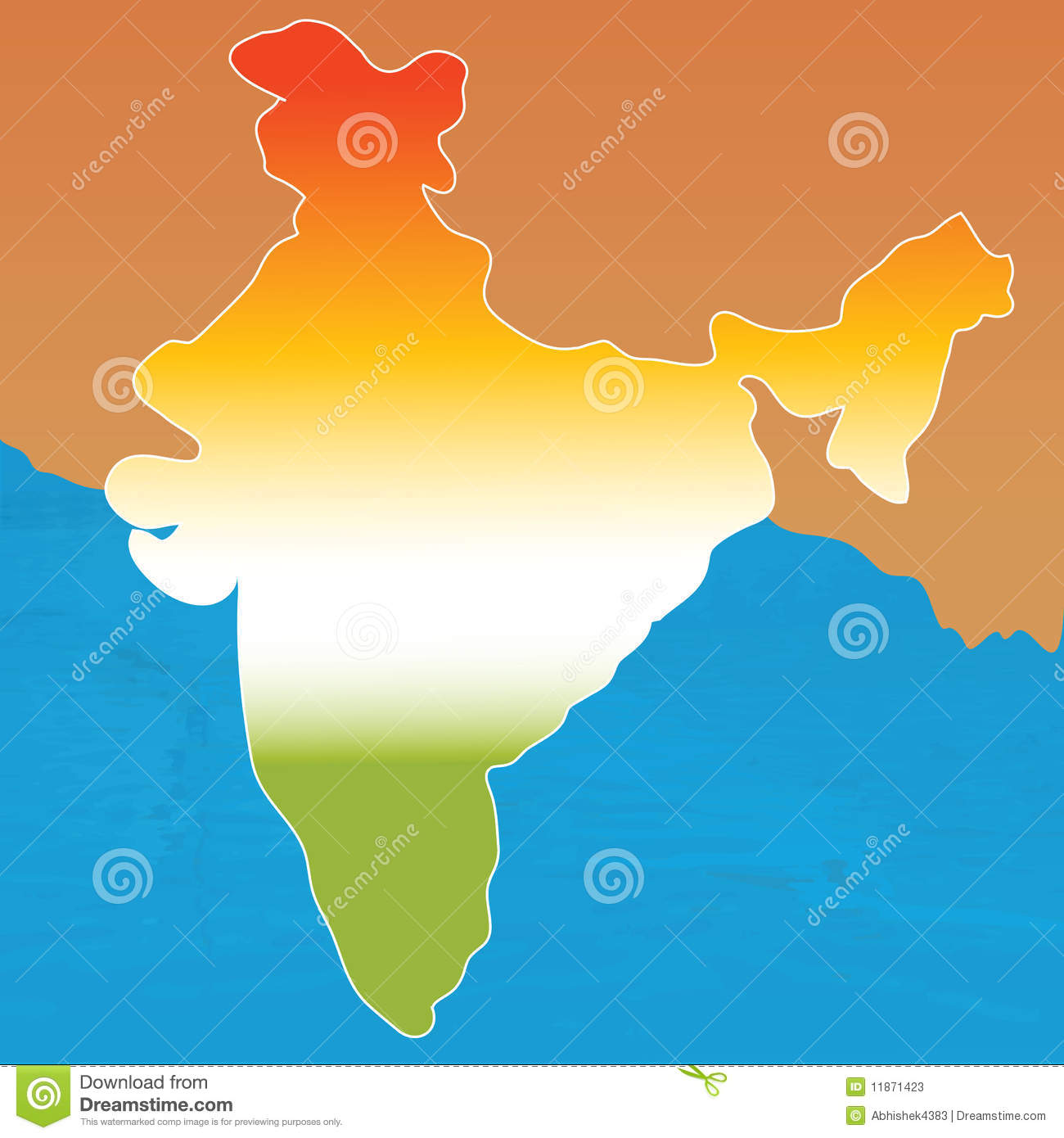 Outline Map Of India In Tri Colors Stock Illustration Illustration