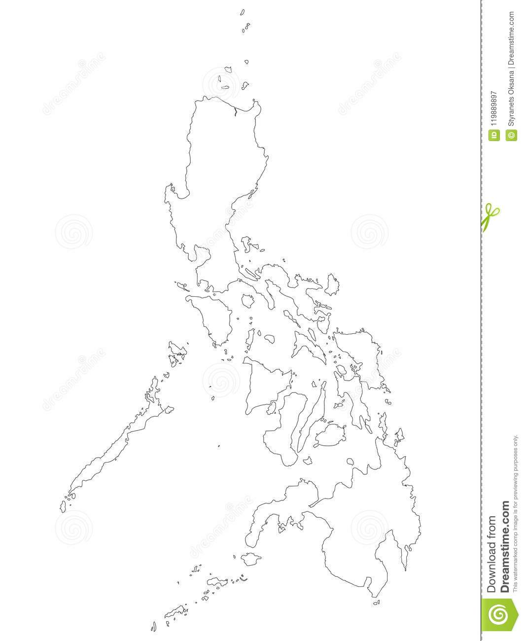 Philippines Map Black And White.Outline Map Of The Republic Of The Philippines Stock Vector