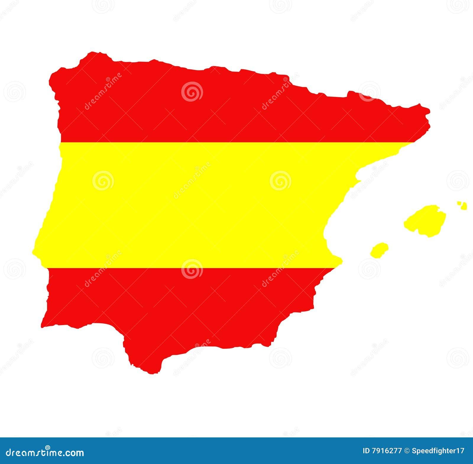Outline Map Of Spain On White Stock Illustration Illustration Of