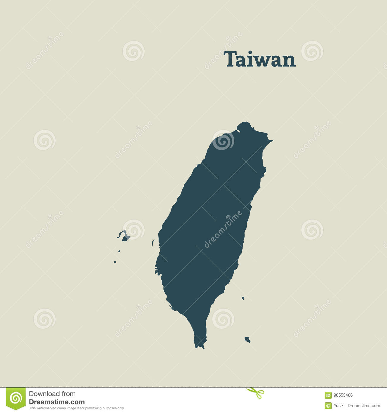 Asia Map Taiwan.Outline Map Of Taiwan Illustration Stock Illustration