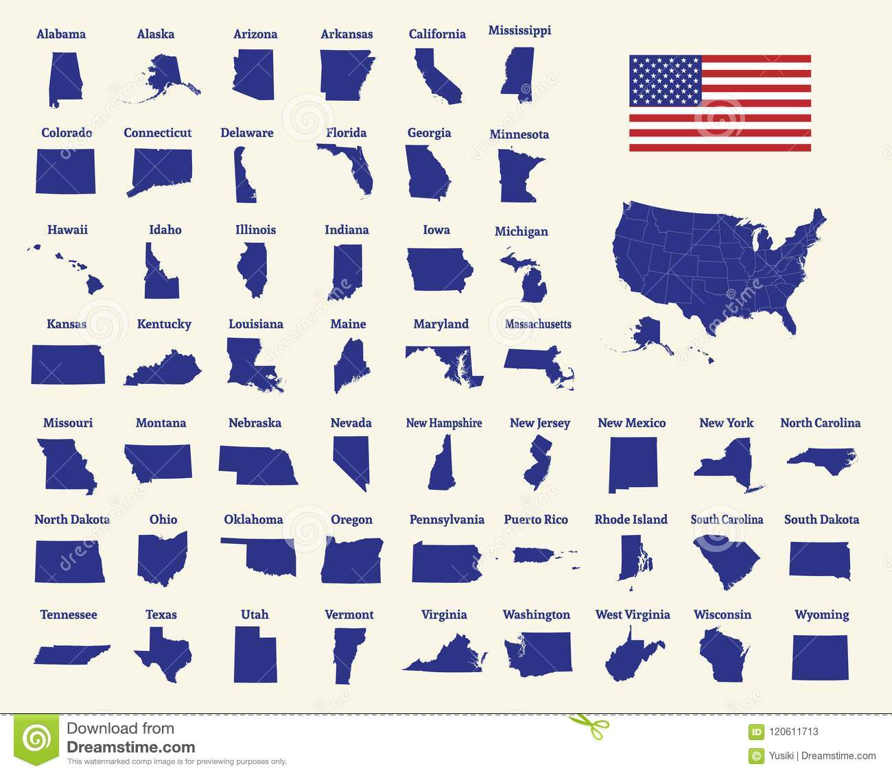 Outline Map Of The United States Of America 50 States Of The Us