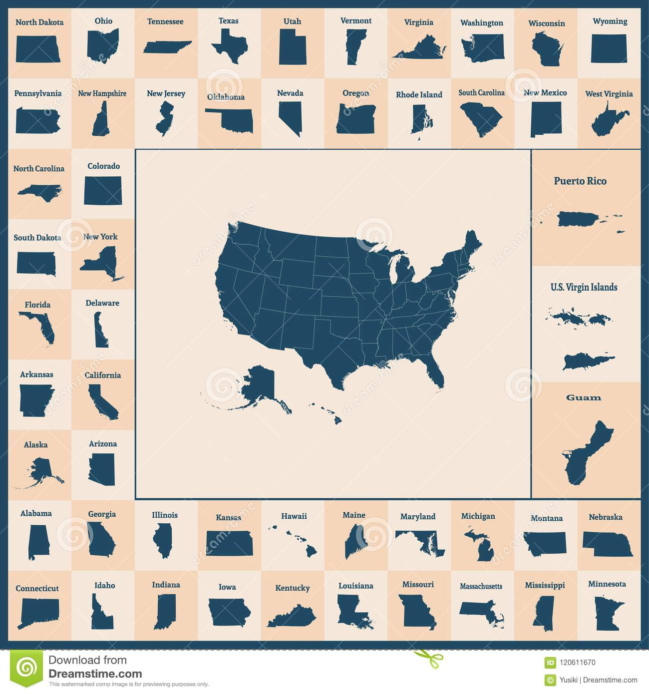 Outline Map Of The United States Of America. 50 States Of The US ...