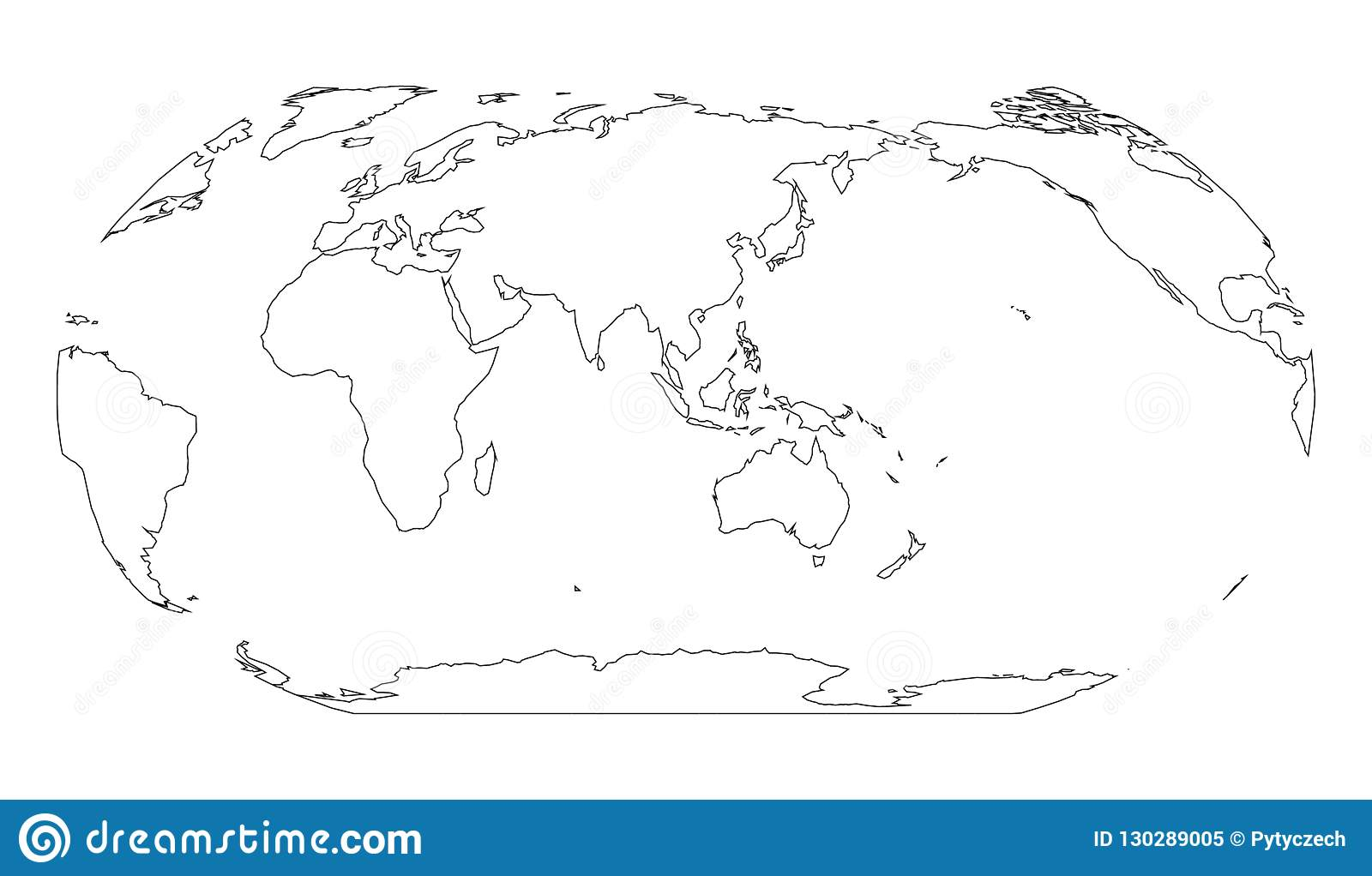 Outline Map Of World. Asia And Australia Centered. Simple Flat ...