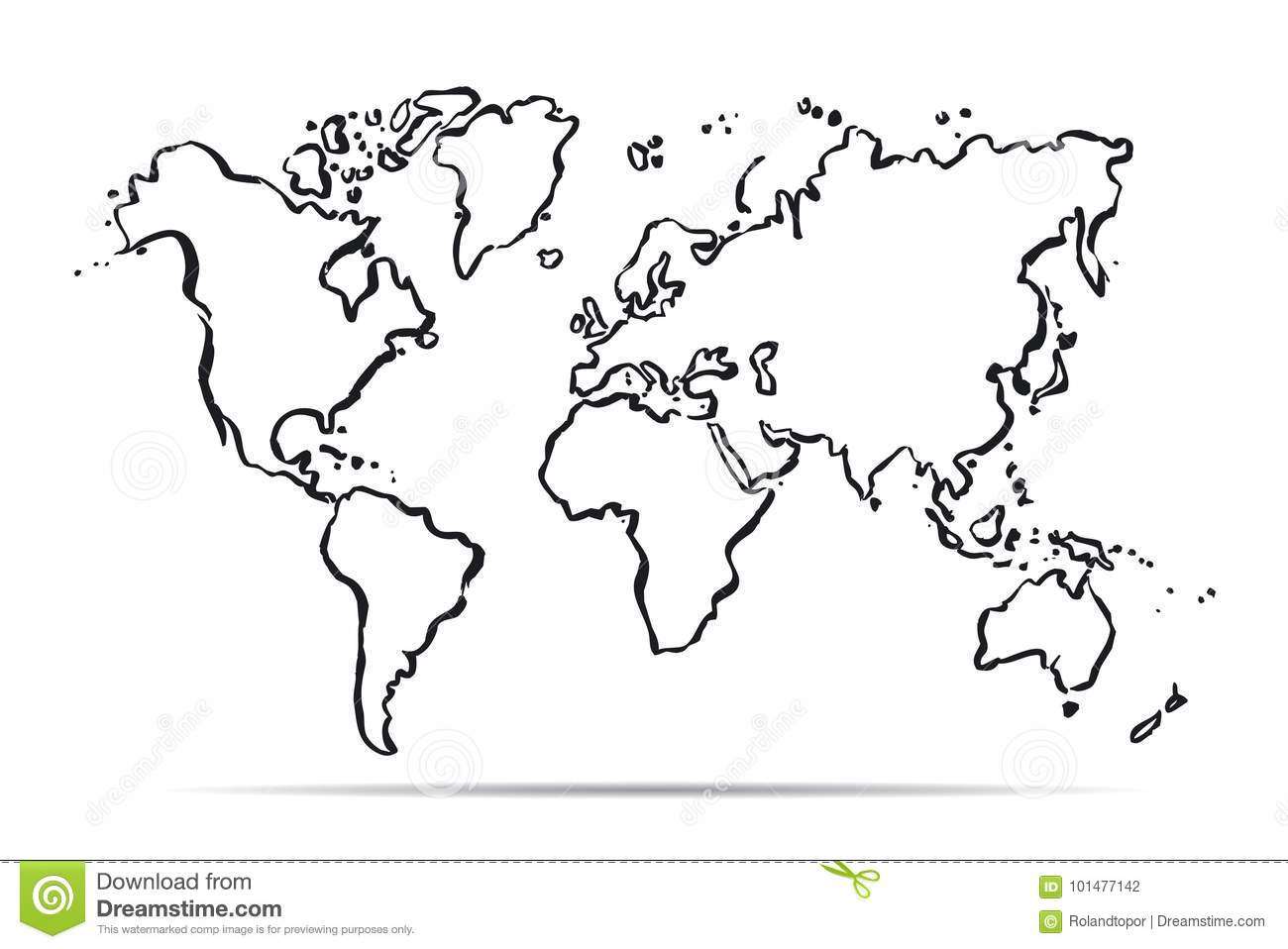 Outline Map Of The World. Vector Illustration Stock Illustration ...