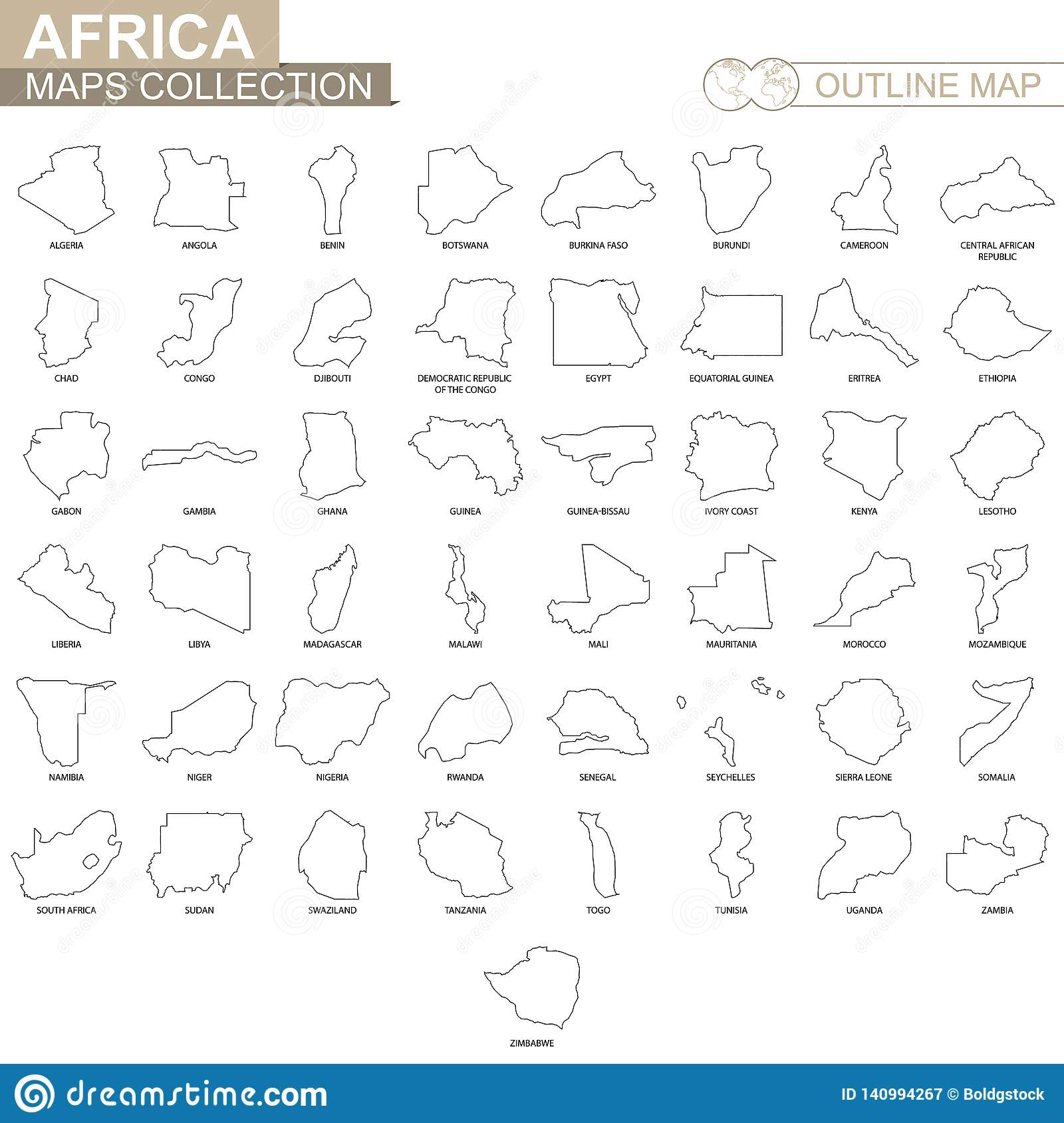 Picture of: Outline Maps Of African Countries Collection Stock Vector Illustration Of Cartography Congo 140994267