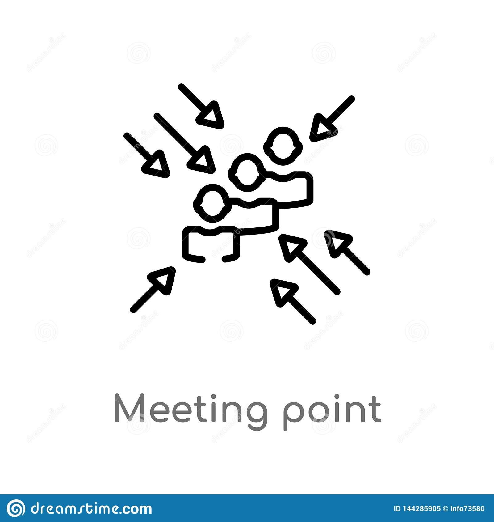 outline meeting point vector icon. isolated black simple line element illustration from human resources concept. editable vector