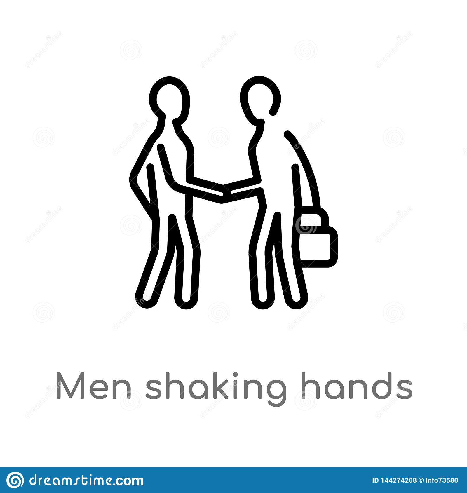 outline men shaking hands vector icon. isolated black simple line element illustration from business concept. editable vector