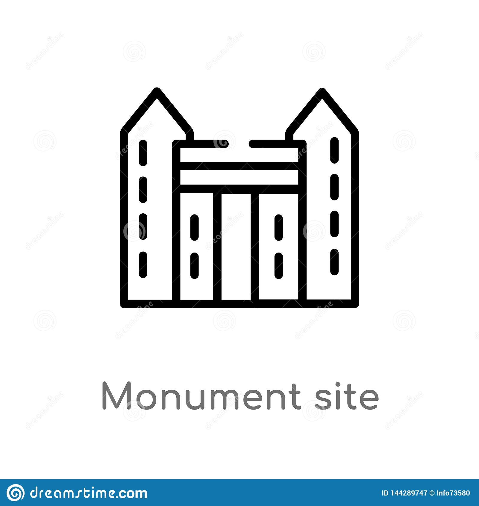 outline monument site vector icon. isolated black simple line element illustration from monuments concept. editable vector stroke