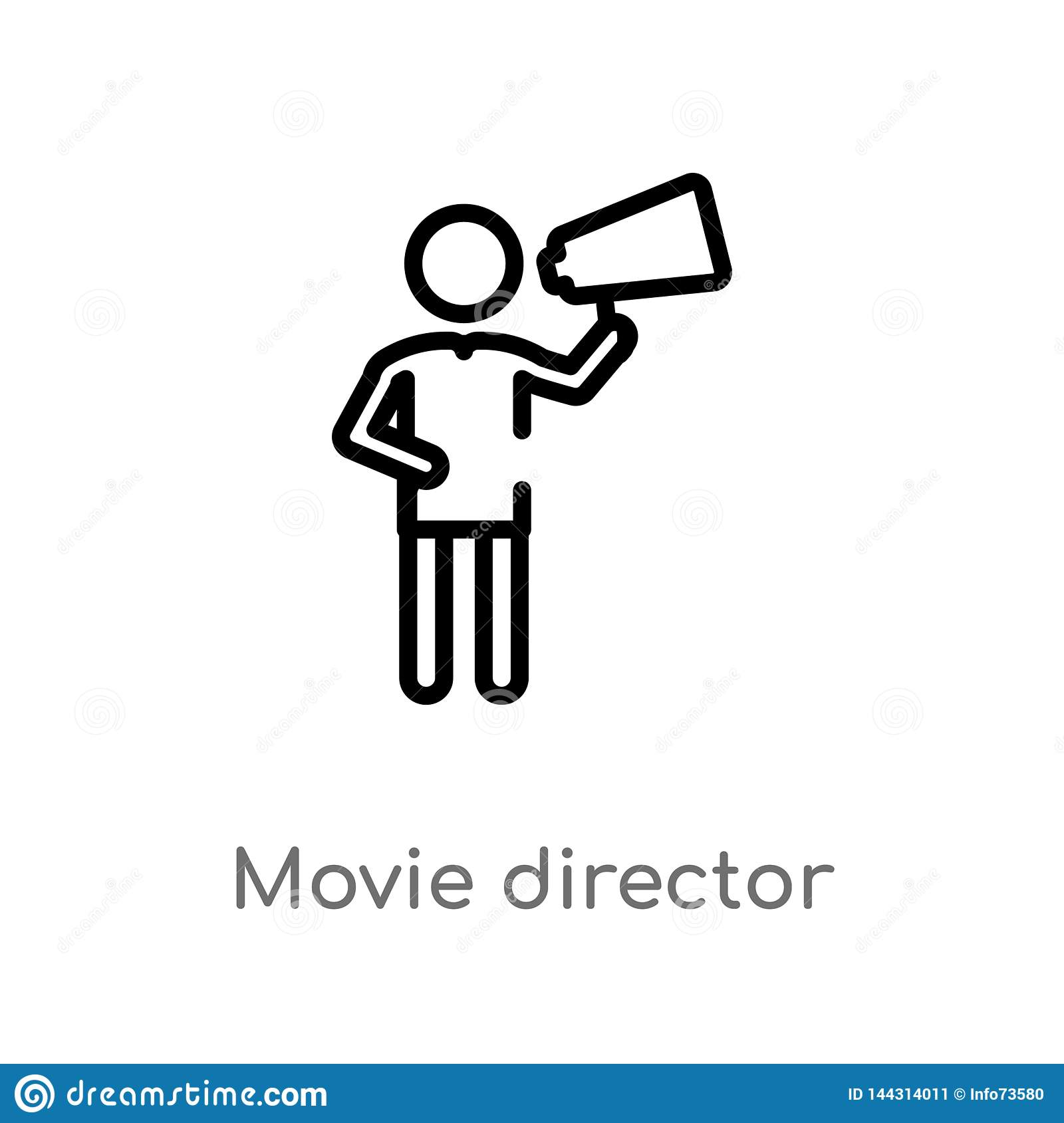 outline movie director vector icon. isolated black simple line element illustration from people concept. editable vector stroke