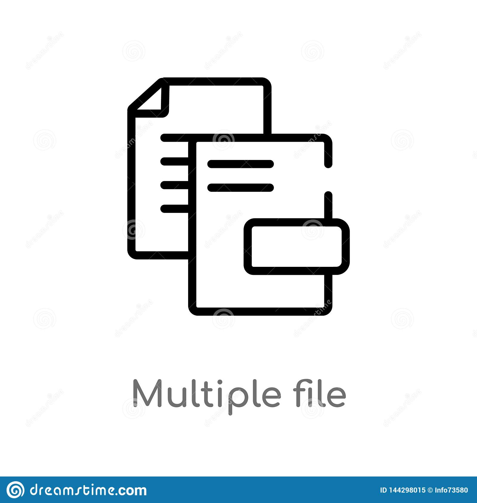 outline multiple file vector icon. isolated black simple line element illustration from user interface concept. editable vector