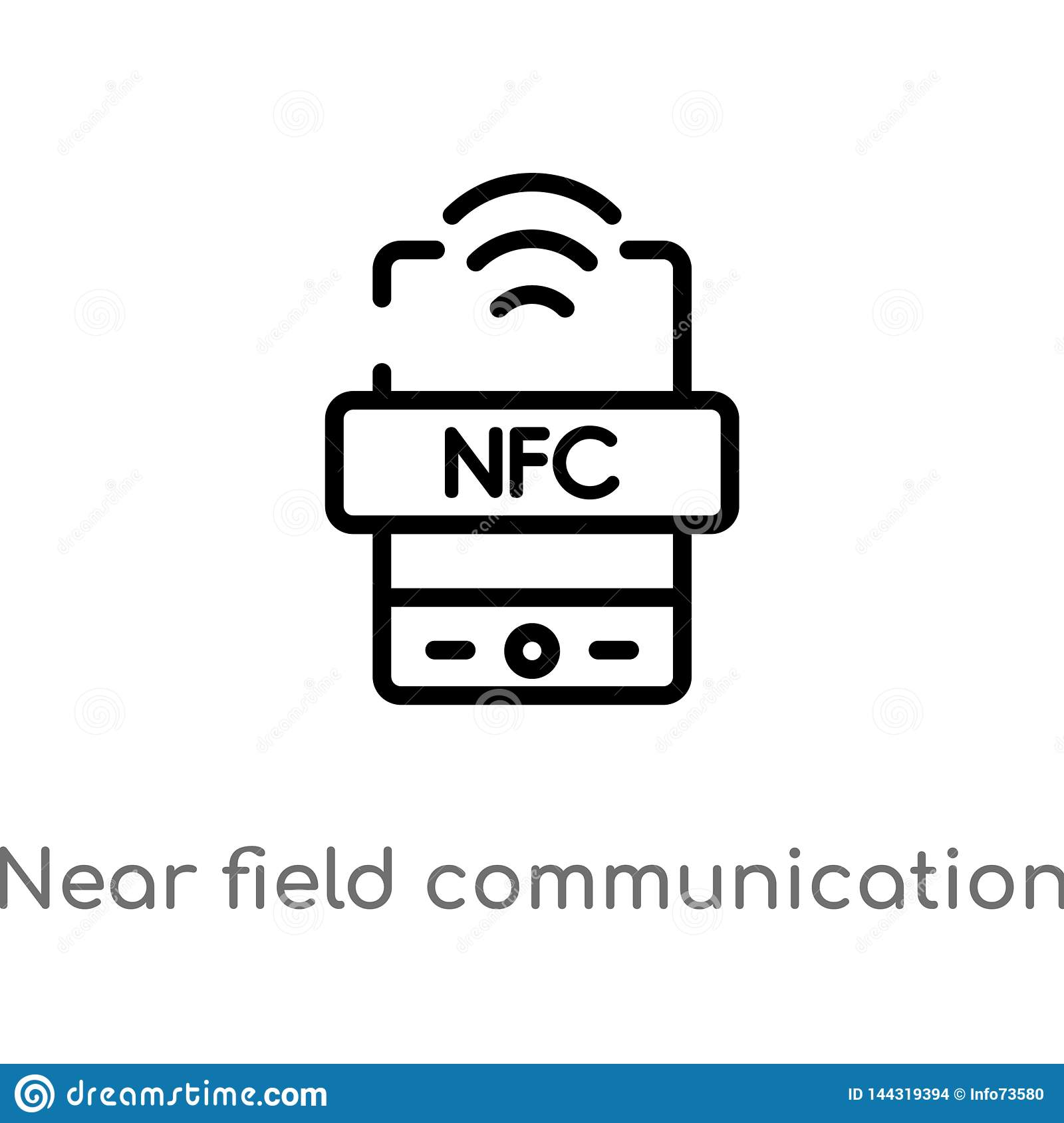 outline near field communication vector icon. isolated black simple line element illustration from technology concept. editable