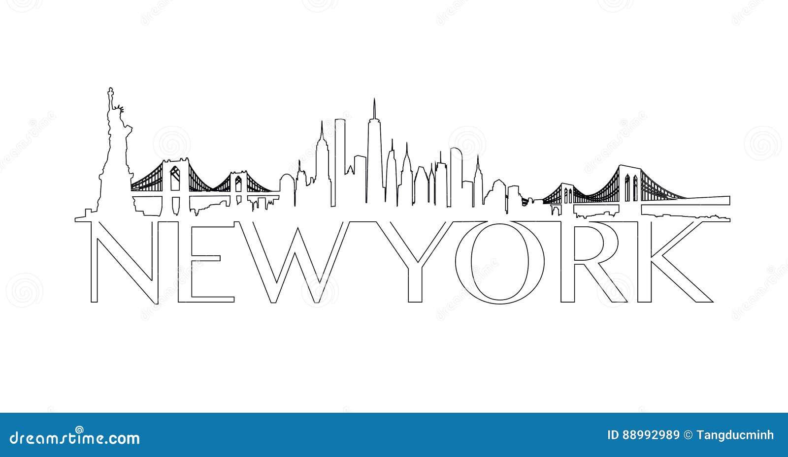 Outline New York City Skyline Vector Stock Vector Illustration Of