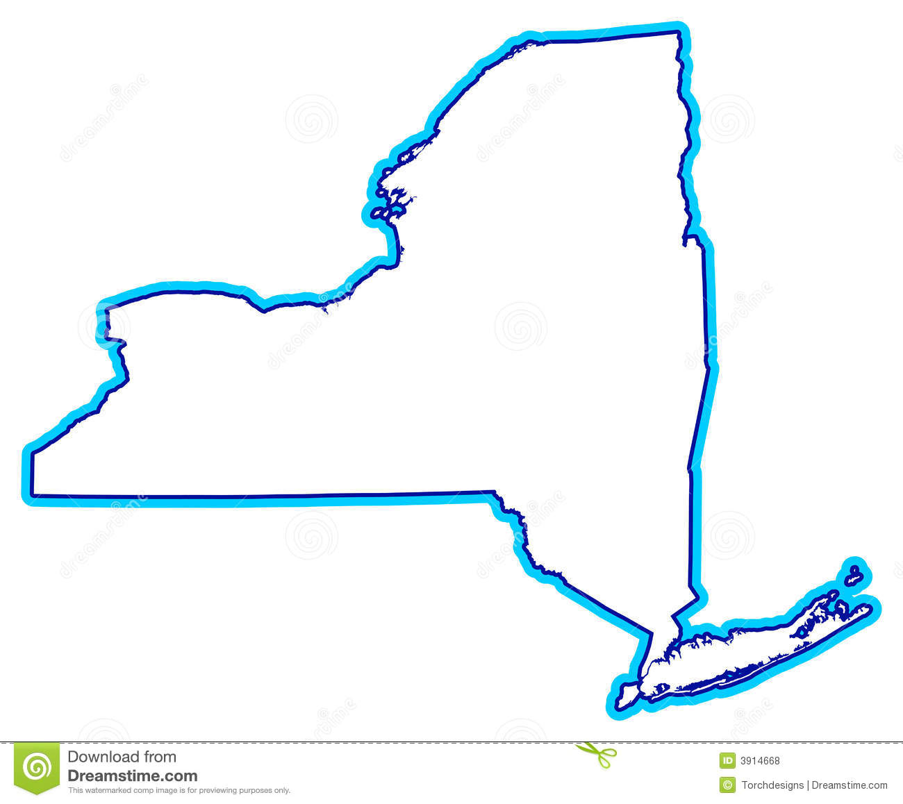 Outline Of New York State Stock Illustration Illustration Of