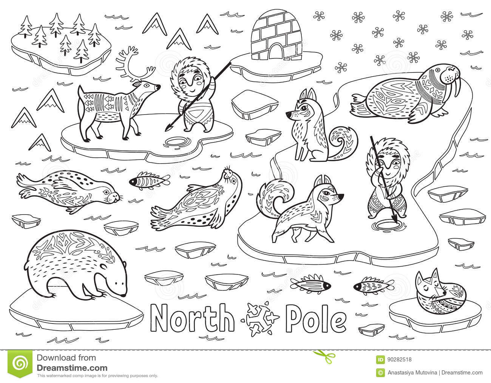 Outline North Pole Animals Eskimos And Yurt Stock Vector