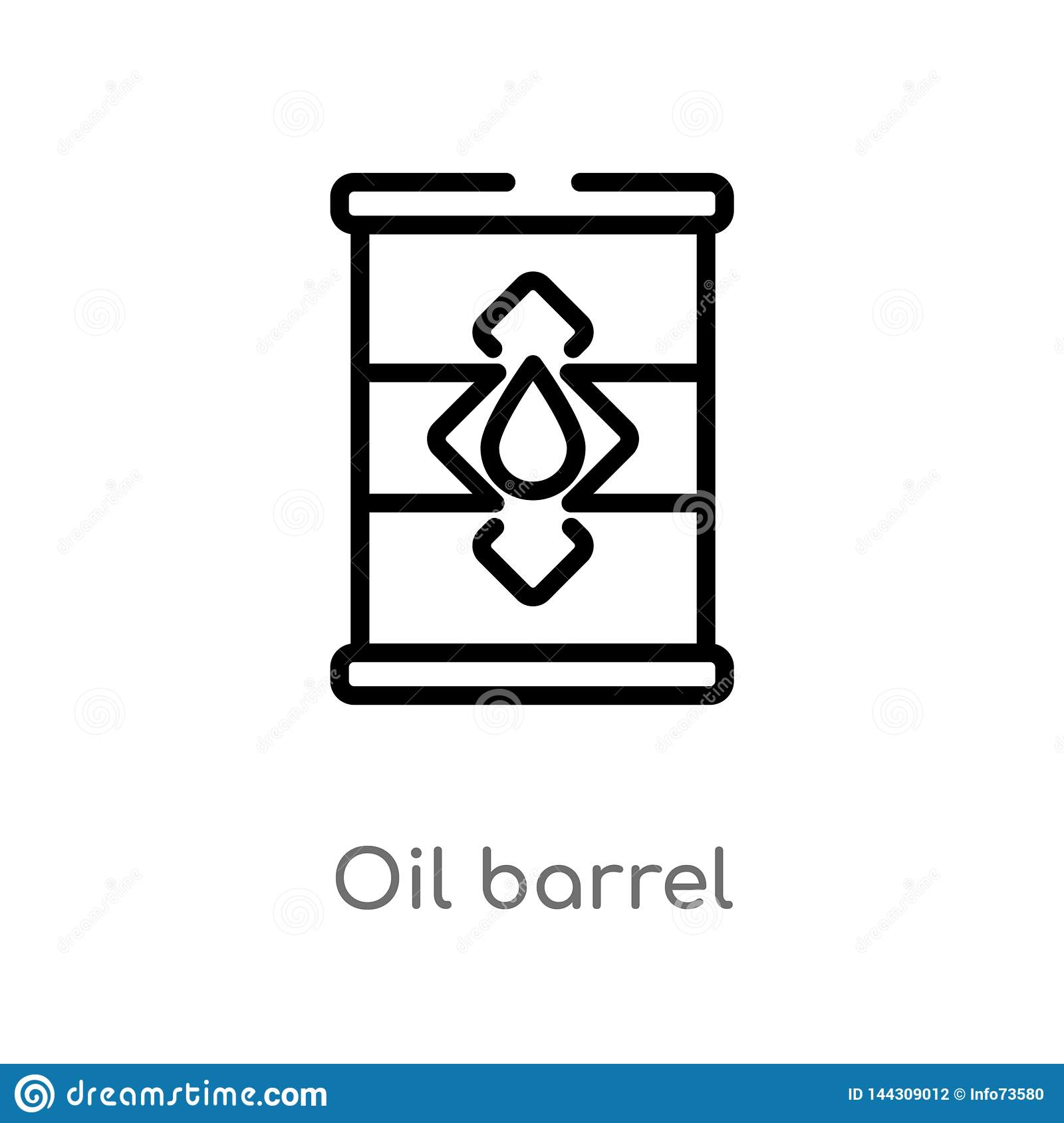 outline oil barrel vector icon. isolated black simple line element illustration from industry concept. editable vector stroke oil