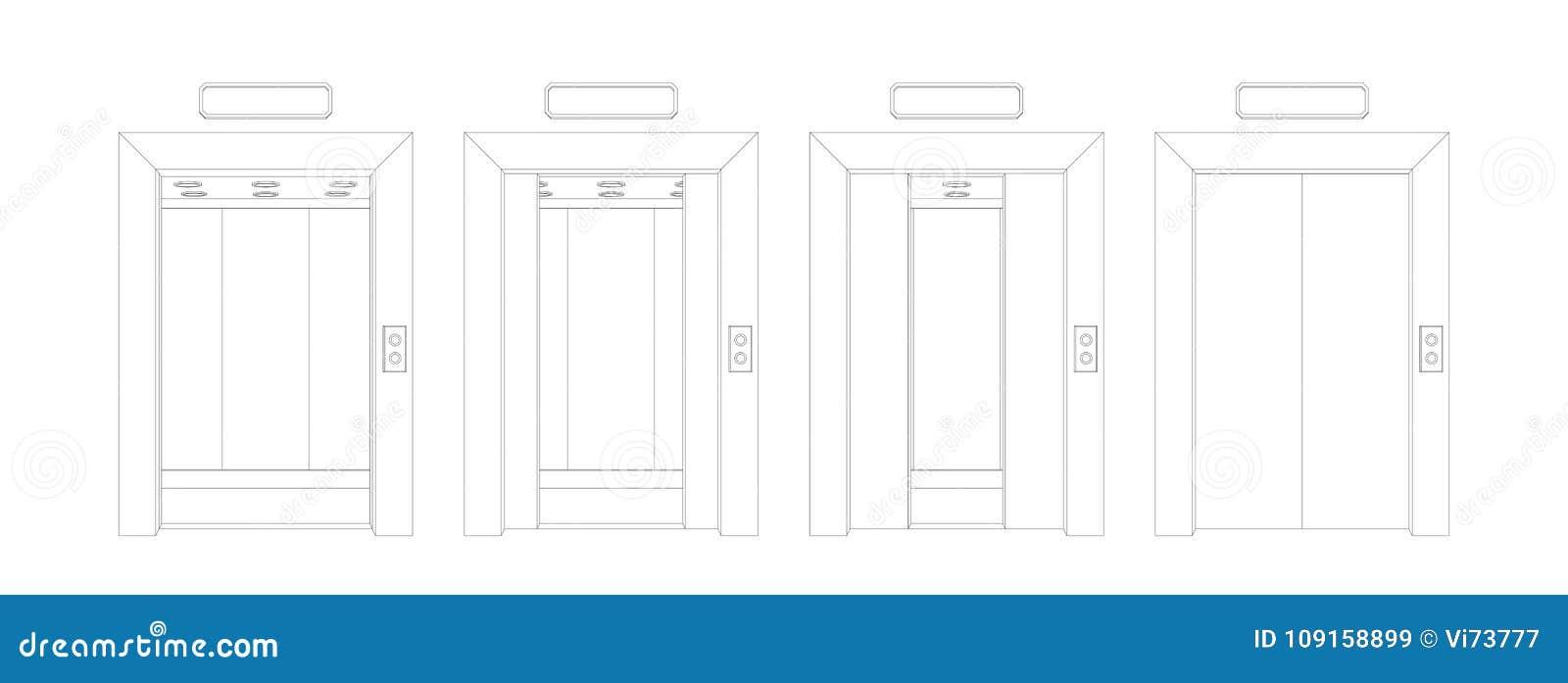 Outline open and closed elevator doors. Front view door vector illustration.  sc 1 st  Dreamstime.com & Outline Open And Closed Elevator Doors. Front View Door Vector ...