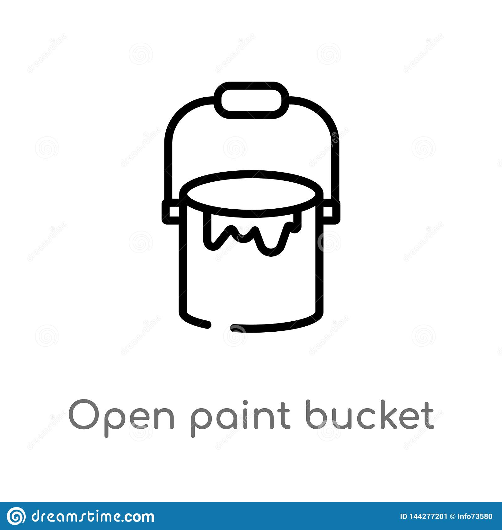 Outline Open Paint Bucket Vector Icon Isolated Black Simple Line Element Illustration From Tools Concept Editable Vector Stroke Stock Vector Illustration Of Logo Work 144277201