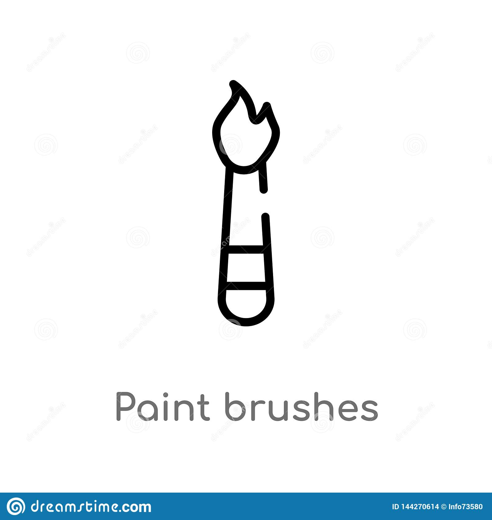 outline paint brushes vector icon. isolated black simple line element illustration from art concept. editable vector stroke paint