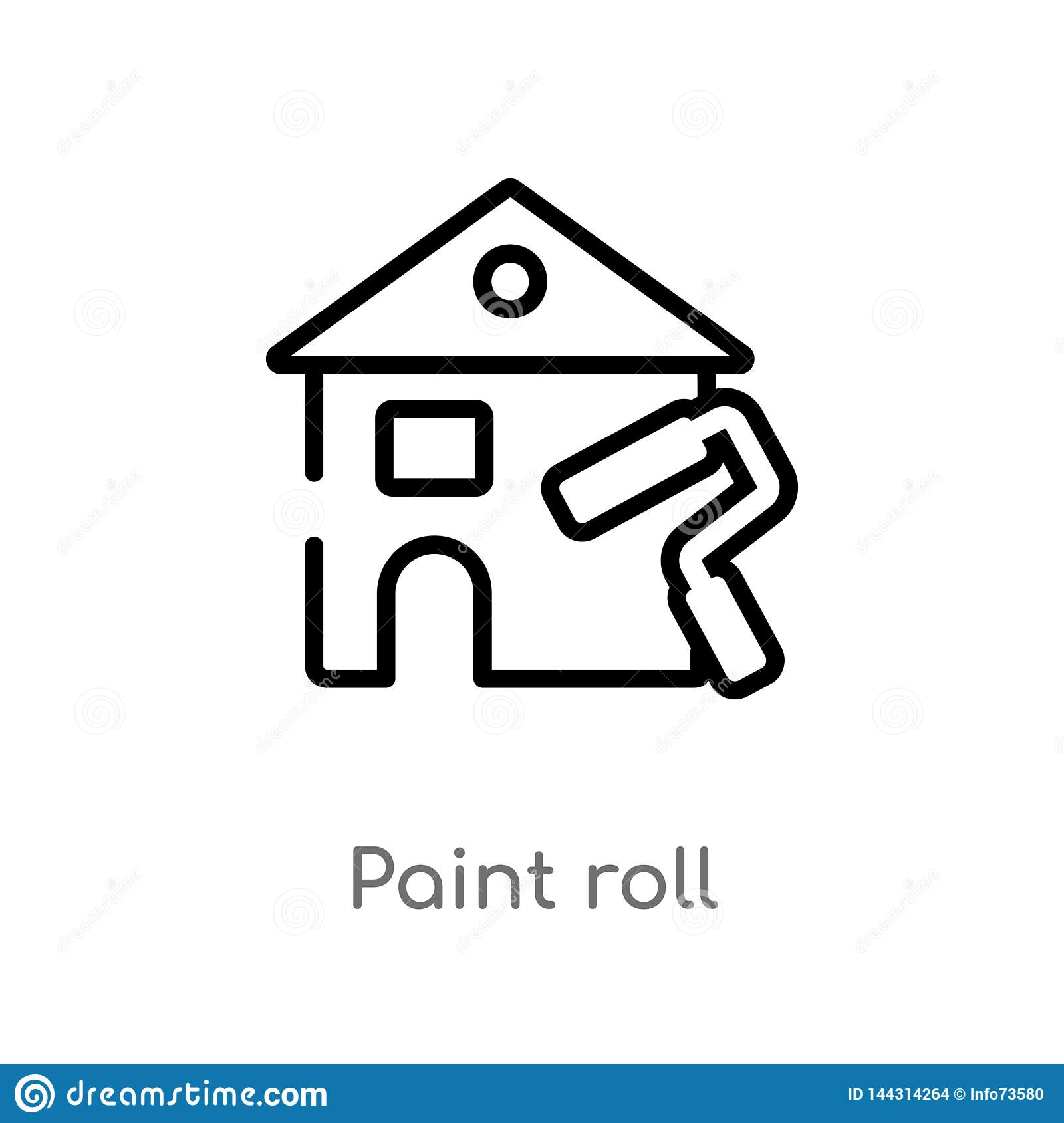 outline paint roll vector icon. isolated black simple line element illustration from real estate concept. editable vector stroke