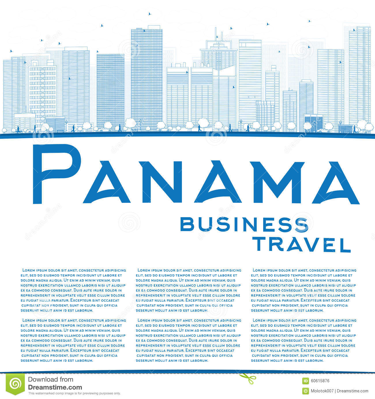 Outline Panama City skyline with blue skyscrapers and copy space