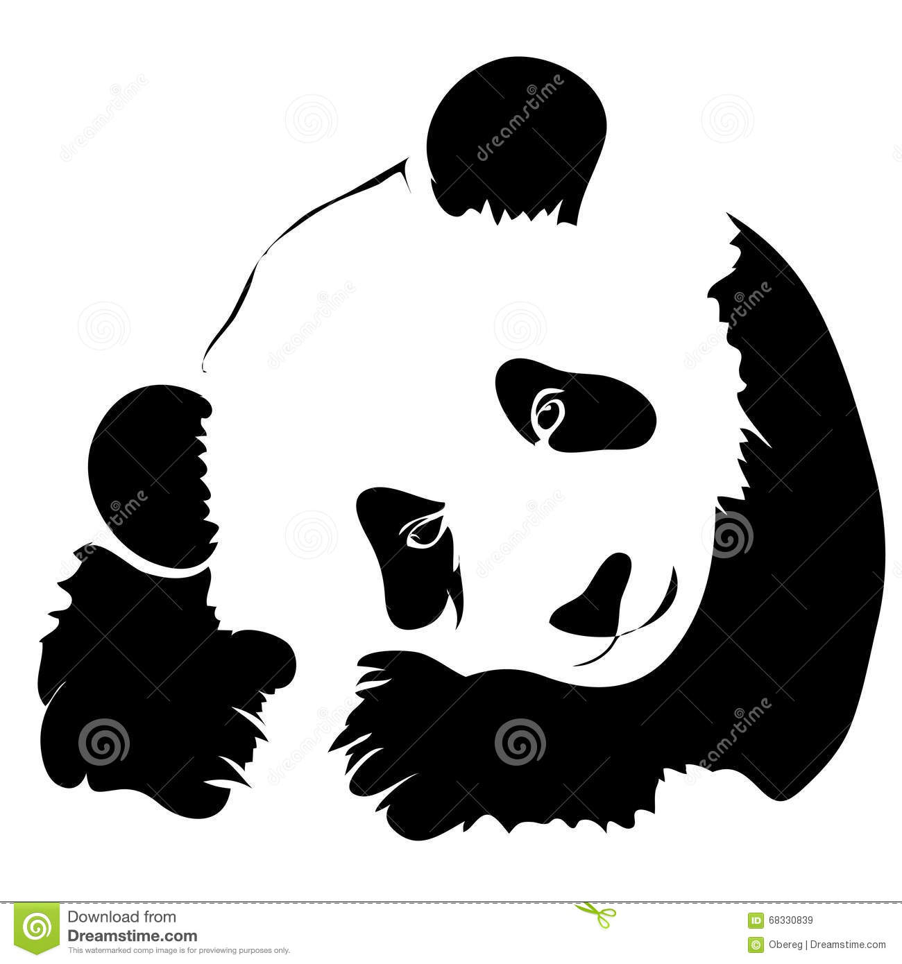 outline panda vector illustration stock vector illustration of