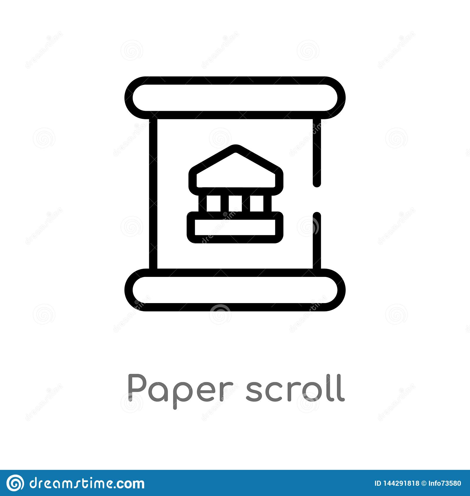 Outline Paper Scroll Vector Icon  Isolated Black Simple Line Element