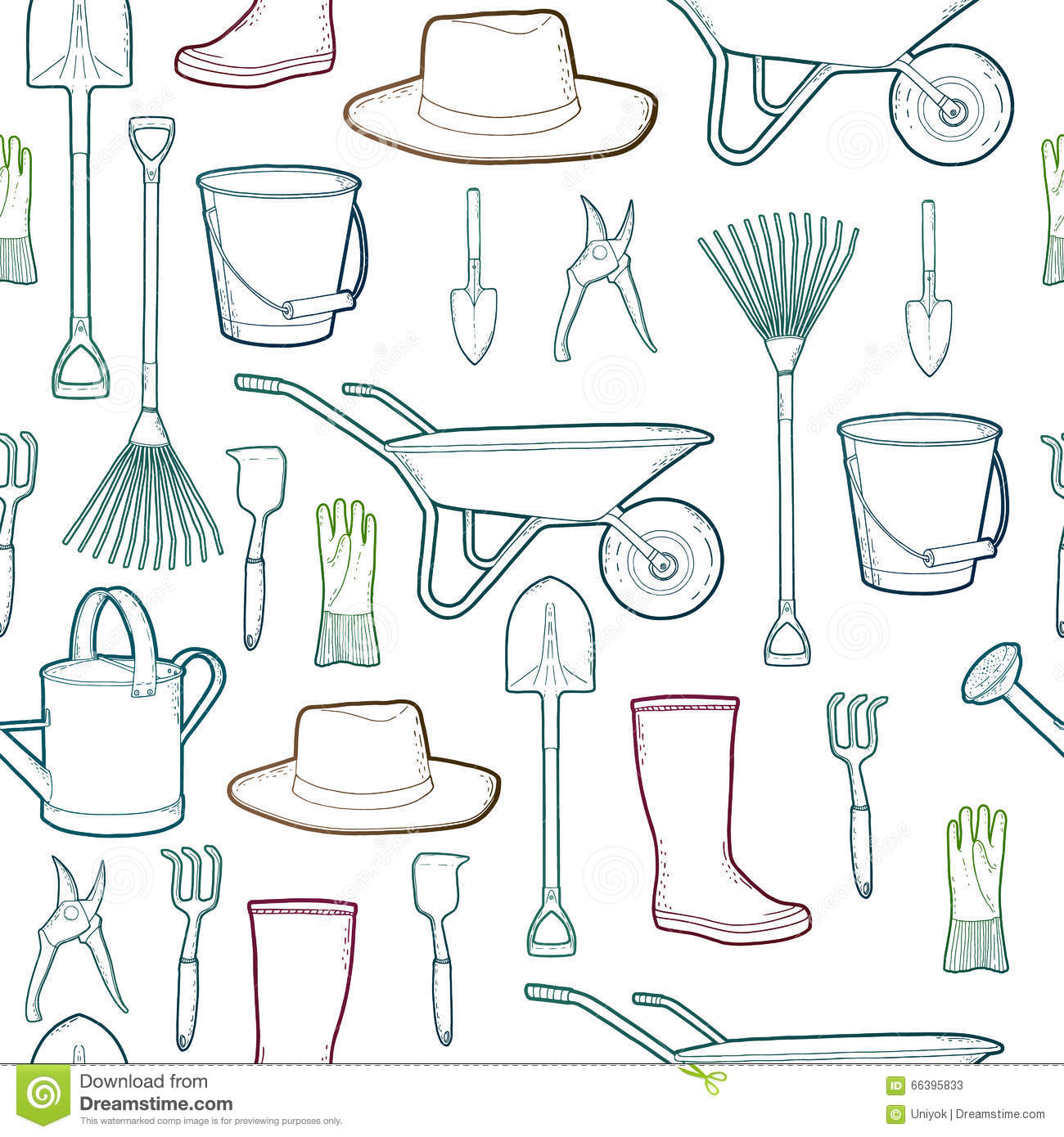 Outline Pattern With Garden And Farmer Tools Instruments