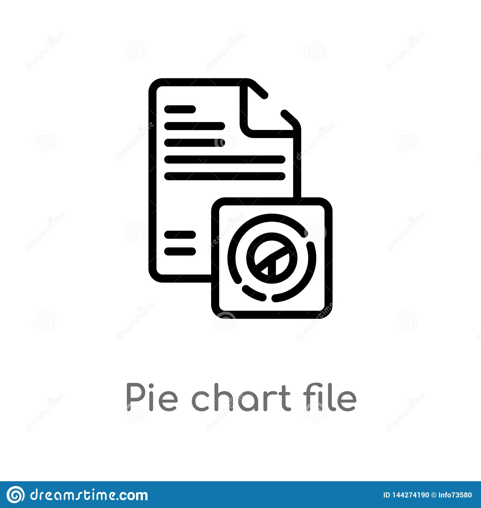 outline pie chart file vector icon. isolated black simple line element illustration from business concept. editable vector stroke
